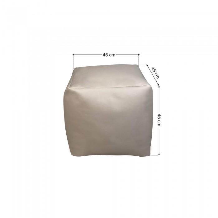 Πουφ σκαμπό Γκρι Ελεφαντί Δερματίνη <br> 45x45x45cm