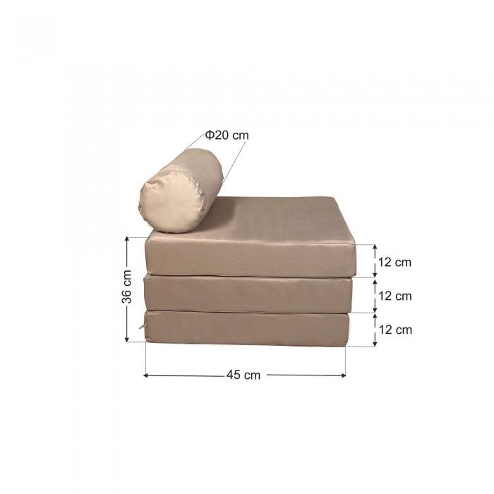 Πουφ τρίσπαστο Σκαμπο-Ξαπλώστρα Μπέζ υφασμάτινο <br> 190x60x12cm