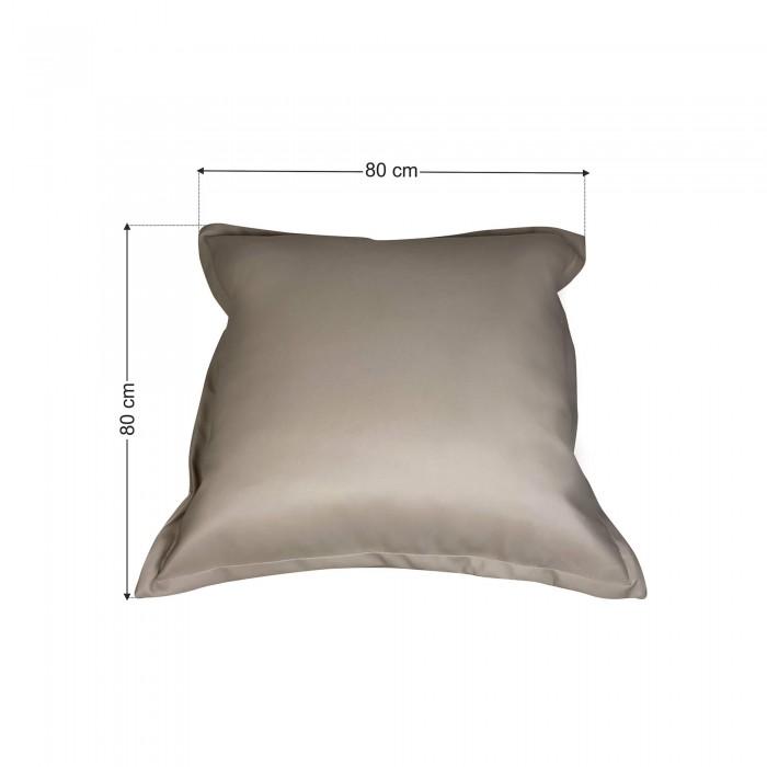 Πουφ Μαξιλάρα Γκρί Ελεφαντί Δερματίνη<br> 80x80x12cm